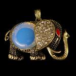 Deti Pendants opal, Deti Opal, Elefant, natyror, me diamant i rremë, asnjë, 57.50x43x14mm, : 4.5x8mm, 10PC/Qese,  Qese