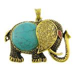 Varëse Bruz, Bruz Natyrore, Elefant, Ngjyra antike ari praruar, me diamant i rremë, e gjelbër, 57.50x43x14mm, : 4.2x8mm, 10PC/Qese,  Qese