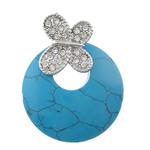 Varëse Bruz, Bruz Natyrore, Round Flat, ngjyrë platin praruar, me diamant i rremë, blu, 40x52x5mm, : 4x6mm, 10PC/Shumë,  Shumë