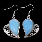 Një palë vathë gur i çmuar, Deti Opal, Zemër, ngjyrë platin praruar, asnjë, asnjë, 22x46x6.20mm, :1.8Inç, 10Çiftet/Shumë,  Shumë