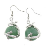 Një palë vathë gur i çmuar, Aventurine jeshile, Round, ngjyrë platin praruar, asnjë, 16x42mm, :1.65Inç, 10Çiftet/Shumë,  Shumë