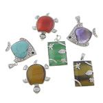 Pendants përziera gur i çmuar, with Tunxh, Shape përziera, 23-41x32-50x7-9mm, : 4x6mm, 10PC/Shumë,  Shumë