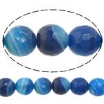 Beads Blue Natyrore agat, Blue agat, Round, asnjë, makinë faceted & shirit, 8mm, : 1-1.5mm, :15Inç, 10Fillesat/Shumë,  Shumë