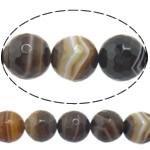 Agat Beads, Agat Kafe, Round, asnjë, makinë faceted & shirit, 16mm, : 1-1.5mm, :15Inç, 5Fillesat/Shumë,  Shumë