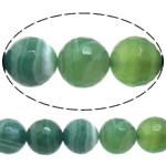 Beads Dashuri Green agat, Jeshile agat, Round, asnjë, makinë faceted & shirit, 8mm, : 1-1.5mm, :15Inç, 10Fillesat/Shumë,  Shumë
