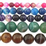 Agat Beads, Agat përziera, Round, asnjë, shirit, 16mm, : 1-1.5mm, :15Inç, 5Fillesat/Shumë,  Shumë