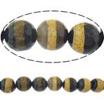 Natyrore tibetian agat Beads DZI, Round, asnjë, makinë faceted, 10mm, : 2mm, :14Inç, 5Fillesat/Shumë,  Shumë