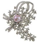 Karficë zbukurimi diamant i rremë, Lule, me diamant i rremë, argjend, 56x67x22mm,  PC