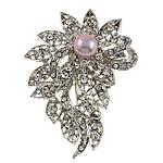 Karficë zbukurimi diamant i rremë, Lule, me diamant i rremë, argjend, 50x70x20mm,  PC