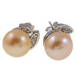 Një palë vathë Pearl ujërave të ëmbla, Pearl kulturuar ujërave të ëmbla, Shape Tjera, asnjë, rozë, 9-10mm,  Palë