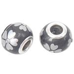Porcelani Beads European, Rondelle, i praruar, core bronzi të dyfishtë pa karrem, gri, 14x11mm, : 5mm, 50PC/Qese,  Qese