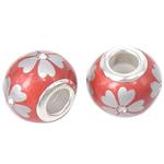 Porcelani Beads European, Rondelle, i praruar, core bronzi të dyfishtë pa karrem, i kuq, 14x11mm, : 5mm, 50PC/Qese,  Qese