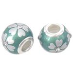 Porcelani Beads European, Rondelle, i praruar, core bronzi të dyfishtë pa karrem, e gjelbër, 14x11mm, : 5mm, 50PC/Qese,  Qese