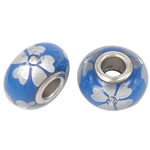 Porcelani Beads European, Rondelle, i praruar, core bronzi të dyfishtë pa karrem, blu, 16x9mm, : 5mm, 50PC/Qese,  Qese