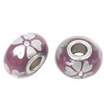 Porcelani Beads European, Rondelle, i praruar, core bronzi të dyfishtë pa karrem, vjollcë e errët, 16x9mm, : 5mm, 50PC/Qese,  Qese