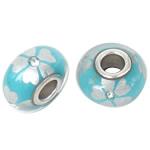Porcelani Beads European, Rondelle, i praruar, core bronzi të dyfishtë pa karrem, dritë blu, 16x9mm, : 5mm, 50PC/Qese,  Qese
