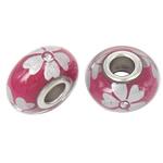 Porcelani Beads European, Rondelle, i praruar, core bronzi të dyfishtë pa karrem, kuqe të thellë, 16x9mm, : 5mm, 50PC/Qese,  Qese