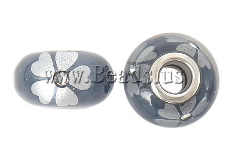Porcelani Beads European, Rondelle, i praruar, core bronzi të dyfishtë pa karrem, 16x9mm, : 5mm, 50PC/Qese,  Qese