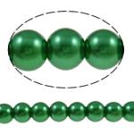 Glass Beads Pearl, Xham, Round, asnjë, e gjelbër, 8mm, : 1-1.5mm, : 31.9Inç, 10Fillesat/Qese,  Qese