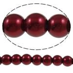 Glass Beads Moda, Xham, Round, asnjë, kuqe të ndritshme rozë, 8mm, : 1-1.5mm, : 33.1Inç, 10Fillesat/Qese,  Qese