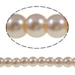 Glass Beads Moda, Xham, Round, asnjë, trëndafili dritë, 6mm, : 1-1.5mm, : 32.3Inç, 10Fillesat/Qese,  Qese