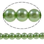Perlmuttartige Glasperlen, Glas, rund, grün, 10mm, Bohrung:ca. 1-1.5mm, Länge:ca. 30.7 ZollInch, 10SträngeStrang/Tasche, verkauft von Tasche