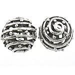 Beads aliazh zink Hollow, Alloy zink, Round, Ngjyra antike argjendi praruar, asnjë, asnjë, , nikel çojë \x26amp; kadmium falas, 15mm, : 1.2mm, 50PC/Qese,  Qese