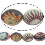 Beads polimer balta, Polymer Clay, Oval, asnjë, asnjë, ngjyra të përziera, 17x22mm, : 1.5mm, : 16.5Inç, 10Fije floku/Shumë,  Shumë