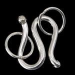 Kapje 925 Sterling Silver Hook S, Shape Tjera, argjend praruar vërtetë, asnjë, argjend, 7x10x1mm, : 3.5mm, 20Sets/Shumë,  Shumë