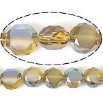 Imitim Swarovski Crystal Beads, Kristal, Round Flat, gjysmë-kromuar, imitim kristal Swarovski, Lt Topaz, 12x12x7mm, : 1.2mm, 300PC/Shumë,  Shumë