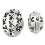 Beads aliazh zink Flat, Alloy zink, Oval Flat, Ngjyra antike argjendi praruar, i uritur, asnjë, , nikel çojë \x26amp; kadmium falas, 17x22x11.50mm, : 1.2mm, 100PC/Qese,  Qese