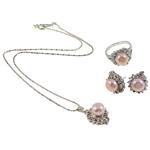 Natyrore kulturuar Pearl ujërave të ëmbla bizhuteri Sets, Pearl kulturuar ujërave të ëmbla, with Diamant i rremë, Kube, natyror, rozë, 15x19.5x13mm, 21.5x31x14mm, 15x17x23mm, : 19mm, :9, :15.5Inç,  Kuti