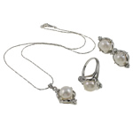Natyrore kulturuar Pearl ujërave të ëmbla bizhuteri Sets, Pearl kulturuar ujërave të ëmbla, with Diamant i rremë, Kube, natyror, e bardhë, 16x26x11mm, 22.5x31x23mm, 16x22x23.5mm, : 19mm, :9, :15.5Inç,  I vendosur