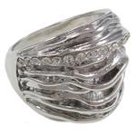 Zinklegierung Fingerring , Platinfarbe platiniert, verschiedene Größen vorhanden & mit Strass, frei von Nickel, Blei & Kadmium, 26x25x20mm, Innendurchmesser:ca. 18mm, 12PCs/Tasche, verkauft von Tasche