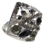 Zink Alloy Ring Finger, Alloy zink, Romb, i praruar, me diamant i rremë, asnjë, , nikel çojë \x26amp; kadmium falas, 26x28.50x28.50mm, : 19mm, :9, 12PC/Qese,  Qese