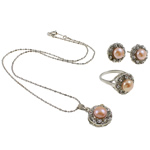 Natyrore kulturuar Pearl ujërave të ëmbla bizhuteri Sets, Pearl kulturuar ujërave të ëmbla, with Diamant i rremë, Kube, natyror, rozë, 17x21x10mm, 21x29x16.5mm, 16x21mm, : 18.5mm, :8.5, :15.5Inç,  I vendosur