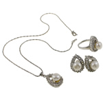 Natyrore kulturuar Pearl ujërave të ëmbla bizhuteri Sets, Pearl kulturuar ujërave të ëmbla, with Diamant i rremë, Kube, natyror, e bardhë, 17x25x11mm, 20x29.5x22mm, 17x22.5x23mm, : 16.5mm, :5.5, :16.5Inç,  I vendosur