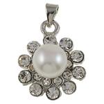 Pendants Pearl ujërave të ëmbla, Pearl kulturuar ujërave të ëmbla, with Diamant i rremë & Tunxh, Lule, natyror, e bardhë, 19x24x10mm, : 3x4.5mm, 10PC/Qese,  Qese