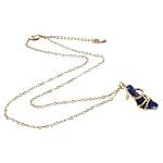 Zinklegierung Schmuck Halskette, mit Emaille & Eisen, Zinklegierung Karabinerverschluss, Schuhe, goldfarben plattiert, mit Strass, blau, frei von Nickel, Blei & Kadmium, 19x23x10mm, verkauft per 16 ZollInch Strang