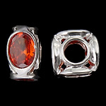 925 Sterling Silver Beads European, Tub, argjend praruar vërtetë, pa karrem & me zirconia kub, kuq pak portokalli, 10.50x10.50x6.20mm, : 4.7mm, 3PC/Qese,  Qese