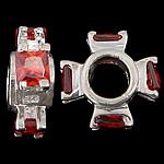 925 Sterling Silver Beads European, Kryq, argjend praruar vërtetë, pa karrem & me zirconia kub, i kuq, 12x12x4mm, : 4.6mm, 5PC/Qese,  Qese