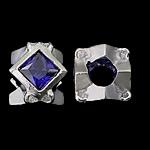 925 Sterling Silver Beads European, Shape Tjera, argjend praruar vërtetë, pa karrem & me zirconia kub, 10x10x8.50mm, : 4.5mm, 3PC/Qese,  Qese