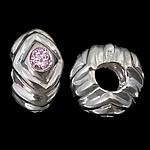 925 Sterling Silver Beads European, Rondelle, argjend praruar vërtetë, pa karrem & me zirconia kub, trëndafili dritë, 12.50x7mm, : 5.2mm, 3PC/Qese,  Qese