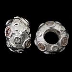 925 Sterling Silver Beads European, Rondelle, argjend praruar vërtetë, pa karrem & me zirconia kub, asnjë, 12x8mm, : 5mm, 3PC/Qese,  Qese