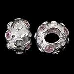925 Sterling Silver Beads European, Rondelle, argjend praruar vërtetë, pa karrem & me zirconia kub, trëndafili dritë, 12x8mm, : 5mm, 3PC/Qese,  Qese
