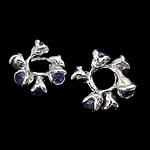 925 Sterling Silver Beads, Lule, argjend praruar vërtetë, me zirconia kub, purpurtë drita, 12x5.50mm, : 4.3mm, 5PC/Qese,  Qese
