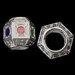 925 Sterling Silver Beads European, Shape Tjera, argjend praruar vërtetë, pa karrem, asnjë, 8.50x9mm, : 5mm, 5PC/Qese,  Qese