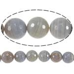 Natyrore Gri Beads agat, Grey agat, Round, asnjë, makinë faceted & shirit, 16mm, : 1.5mm, :15Inç, 3Fillesat/Shumë,  Shumë