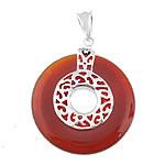 Pendants Red agat, Round Flat, asnjë, asnjë, 35x35x6.50mm, : 5x8mm, 3PC/Shumë,  Shumë