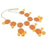 Mode Statement Halskette, Zinklegierung, mit Harz & Eisen & Acryl, Zinklegierung Karabinerverschluss, goldfarben plattiert, orange, frei von Nickel, Blei & Kadmium, 32x33x9mm, verkauft per 18.5 ZollInch Strang